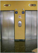 Certified FIREPROOF landing door, made from scratch-resistant stainless steel for duplex logic control systems